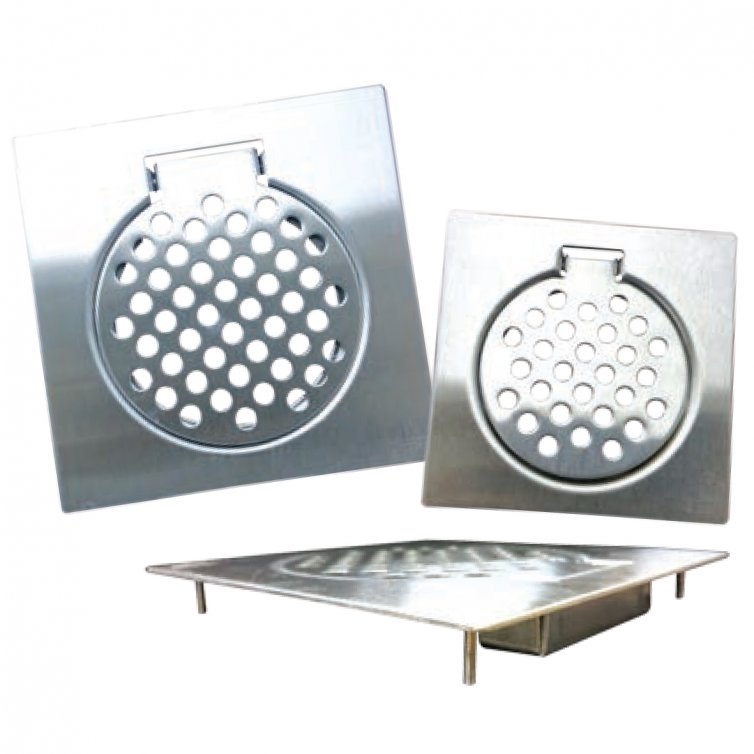 Stainless Steel Floor Strainers with Feet- Bottom Covered