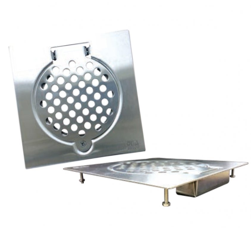Stainless Steel Floor Strainers with Screw, Bottom Covered & Feet
